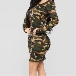 New Fashion Nova Long Sleeve Bodycon Camo Dress